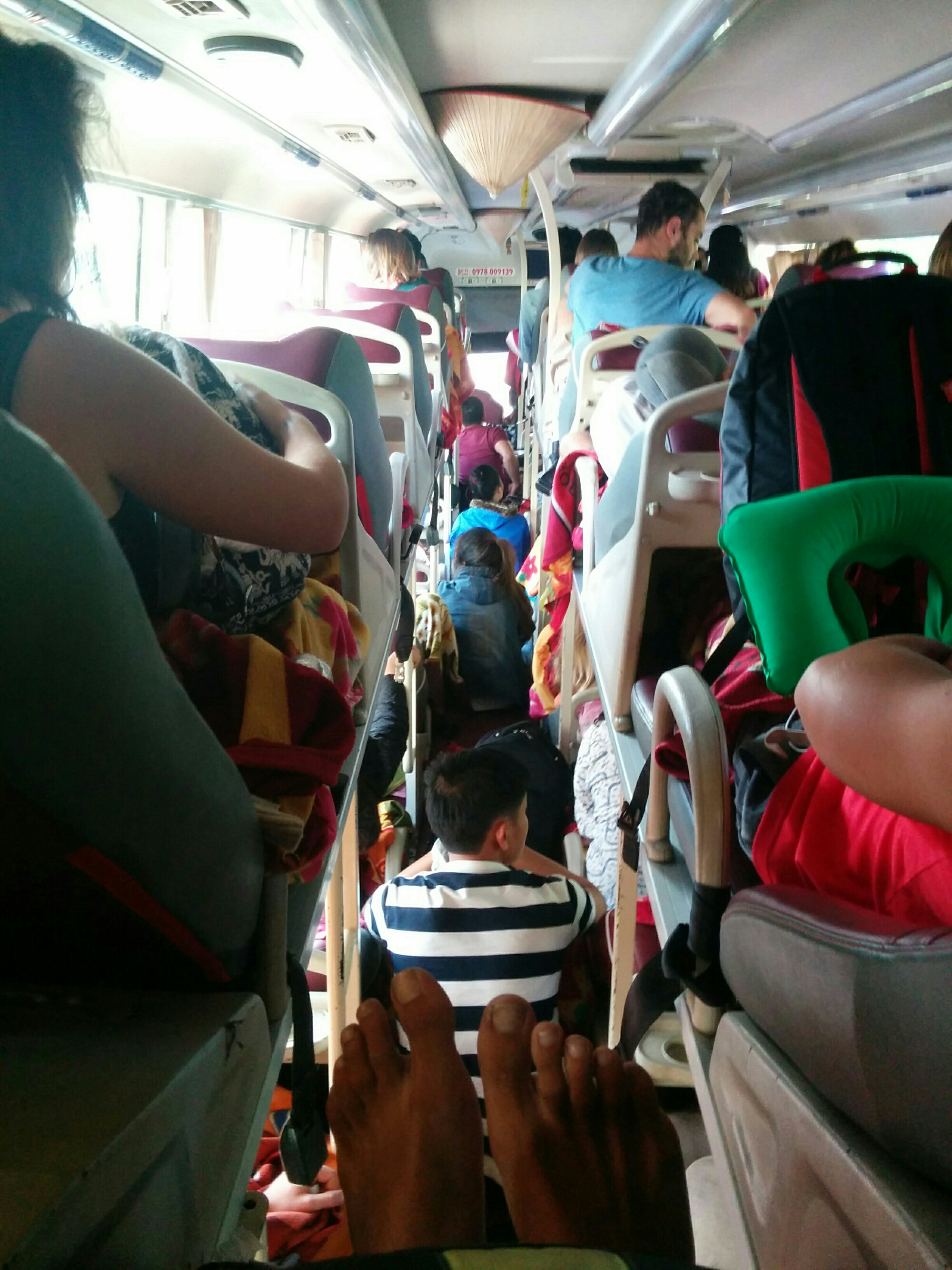Crammed night bus